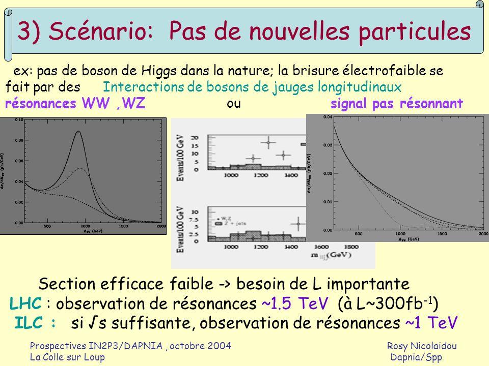 Prospectives IN2P3/DAPNIA, octobre 2004 Rosy Nicolaidou La Colle sur Loup Dapnia/Spp 3) Scénario: Pas de nouvelles particules ex: pas de boson de Higg