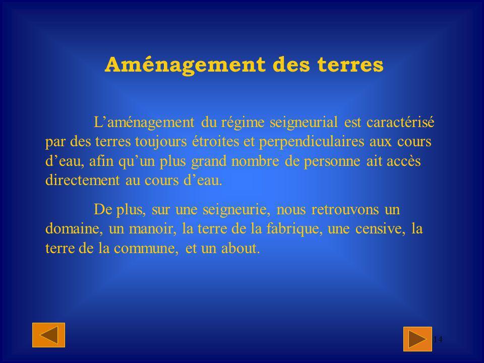 13 À lépoque de la Nouvelle-France, une nouvelle répartition des terres fut établie.