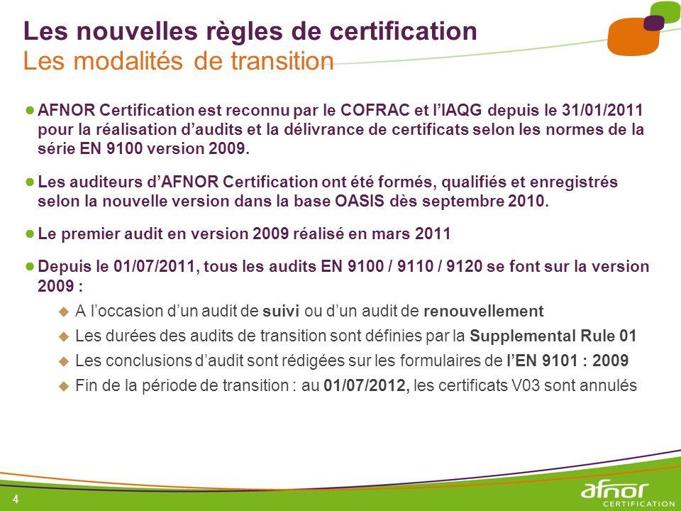 1 / Pour personnaliser les références : Affichage / En-tête et pied de page Personnaliser la zone Pied de page, Faire appliquer partout 5 Les nouvelles règles de certification La SR01 La Supplemental Rule 01, disponible sur la page daccueil de la base OASIS, définit le calendrier de transition et les durées sur site : Transition pendant un audit de renouvellement : 80% durée Initiale IAF MD5 (ISO 9001) + durées initiales EN 9104 : 2006 Délivrance dun certificat EN 9100 version 2009 valable 3 ans Transition pendant un audit de suivi : 50% durée Initiale IAF MD5 (ISO 9001) + durées initiales EN 9104 : 2006 On garde la fin de validité du certificat en cours et on change la version de la norme