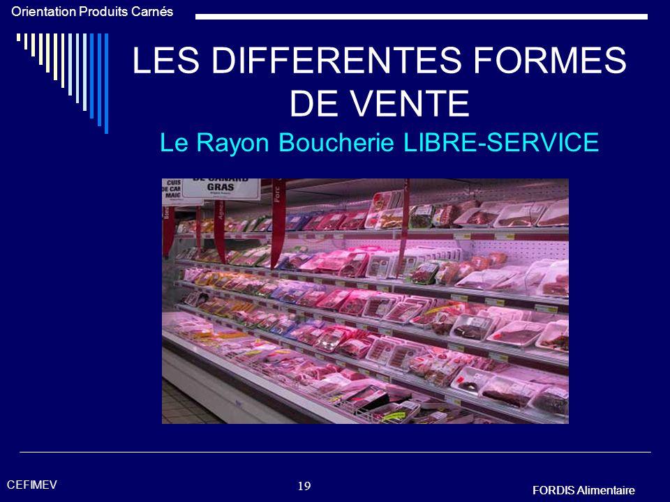 FORDIS Alimentaire Orientation Produits Carnés FORDIS Alimentaire CEFIMEV 18 LES DIFFERENTES FORMES DE VENTE Le Rayon Boucherie LIBRE-SERVICE