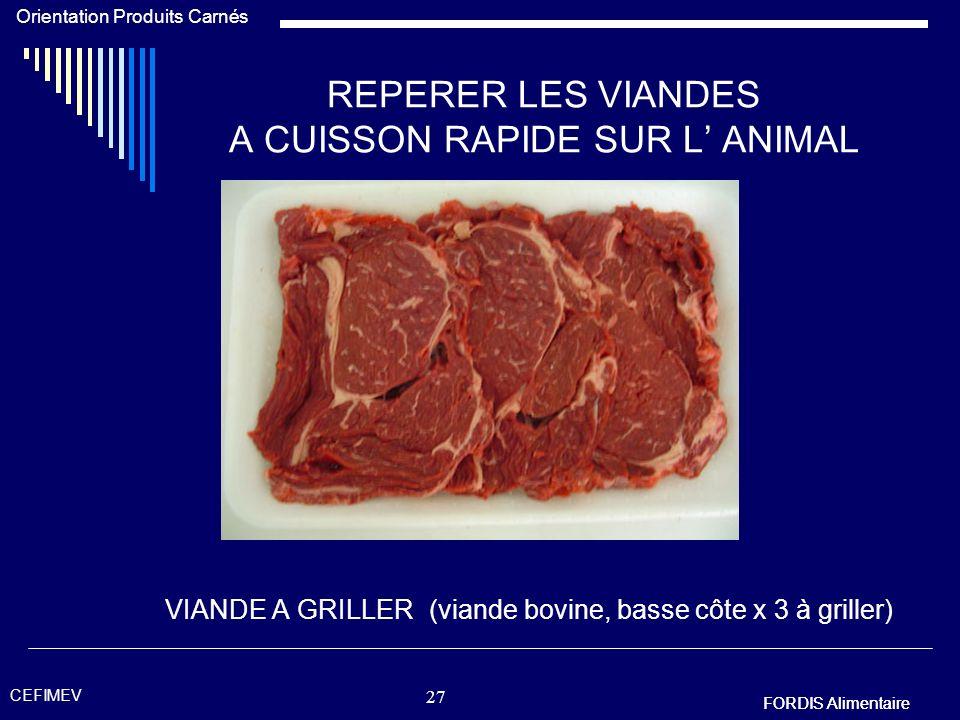 FORDIS Alimentaire Orientation Produits Carnés FORDIS Alimentaire CEFIMEV 26 REPERER LES VIANDES A CUISSON RAPIDE SUR L ANIMAL Viande à cuisson rapide