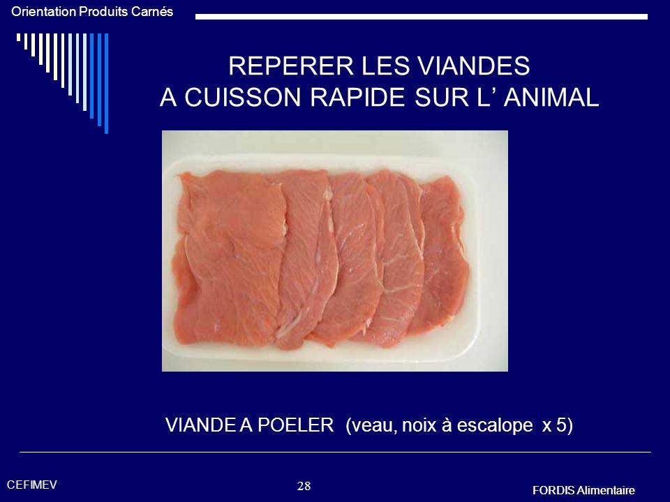 FORDIS Alimentaire Orientation Produits Carnés FORDIS Alimentaire CEFIMEV 27 REPERER LES VIANDES A CUISSON RAPIDE SUR L ANIMAL VIANDE A GRILLER (viand