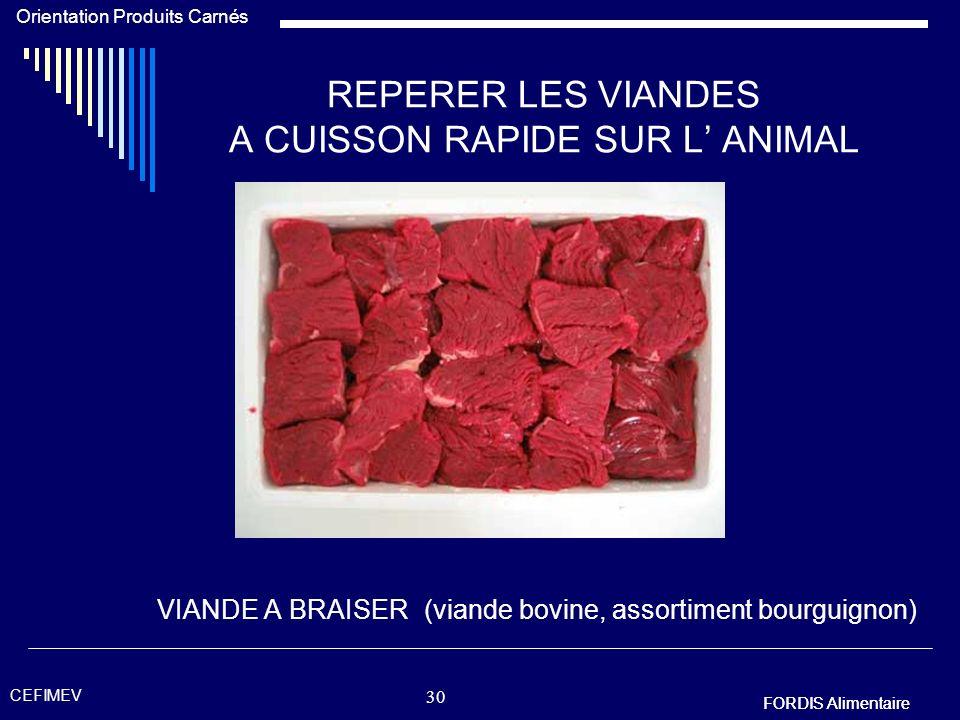 FORDIS Alimentaire Orientation Produits Carnés FORDIS Alimentaire CEFIMEV 29 REPERER LES VIANDES A CUISSON RAPIDE SUR L ANIMAL VIANDE A ROTIR (viande
