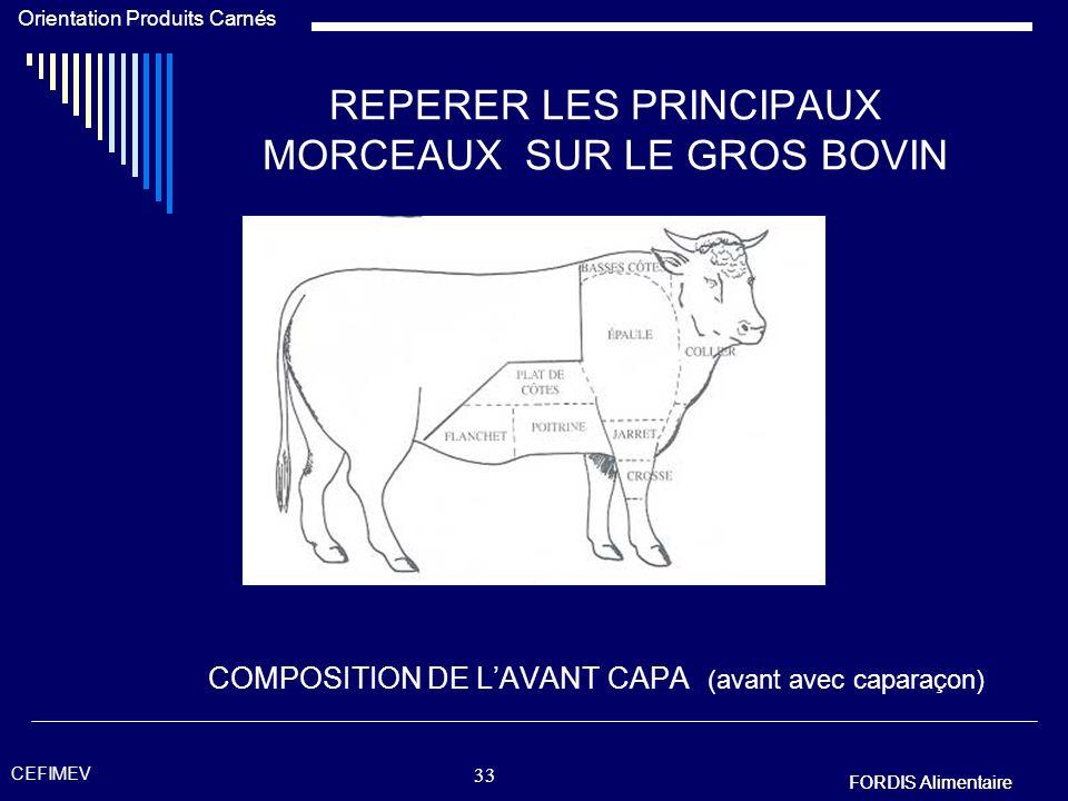 FORDIS Alimentaire Orientation Produits Carnés FORDIS Alimentaire CEFIMEV 32 REPERER LES PRINCIPAUX MORCEAUX SUR LE GROS BOVIN COMPOSITION DE LART 8 (