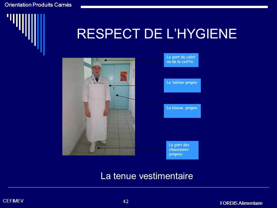 FORDIS Alimentaire Orientation Produits Carnés FORDIS Alimentaire CEFIMEV 41 RESPECT DE LHYGIENE Lhygiène des mains