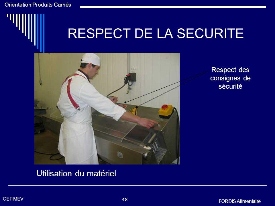 FORDIS Alimentaire Orientation Produits Carnés FORDIS Alimentaire CEFIMEV 47 RESPECT DE LA SECURITE Les gants de protection