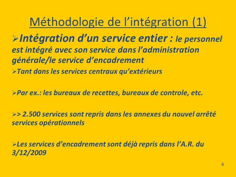 6 Méthodologie de lintégration (1) Intégration dun service entier : le personnel est intégré avec son service dans ladministration générale/le service dencadrement Tant dans les services centraux quextérieurs Par ex.: les bureaux de recettes, bureaux de controle, etc.