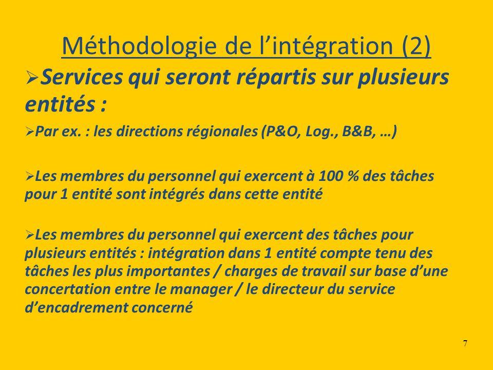 7 Méthodologie de lintégration (2) Services qui seront répartis sur plusieurs entités : Par ex. : les directions régionales (P&O, Log., B&B, …) Les me