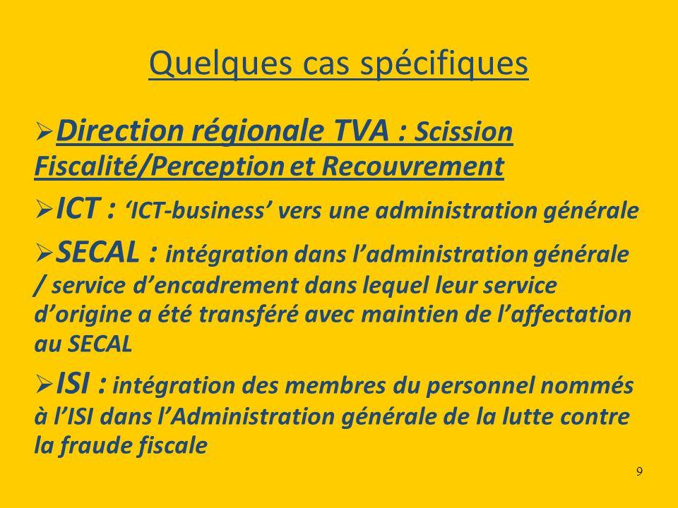 9 Quelques cas spécifiques Direction régionale TVA : Scission Fiscalité/Perception et Recouvrement ICT : ICT-business vers une administration générale