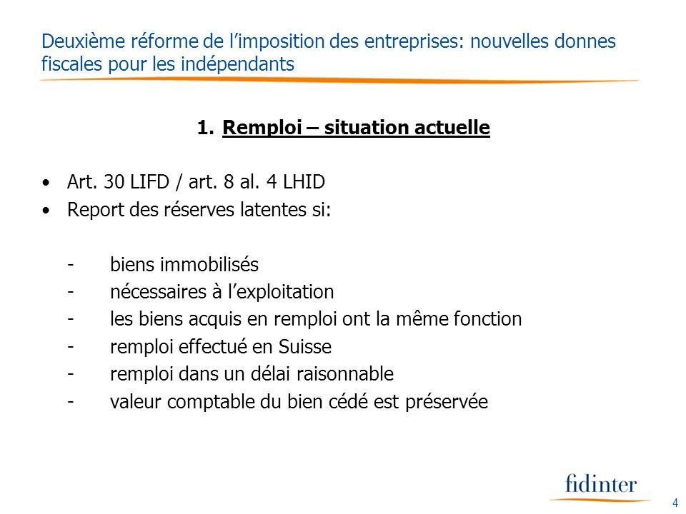 4 Deuxième réforme de limposition des entreprises: nouvelles donnes fiscales pour les indépendants 1.Remploi – situation actuelle Art.