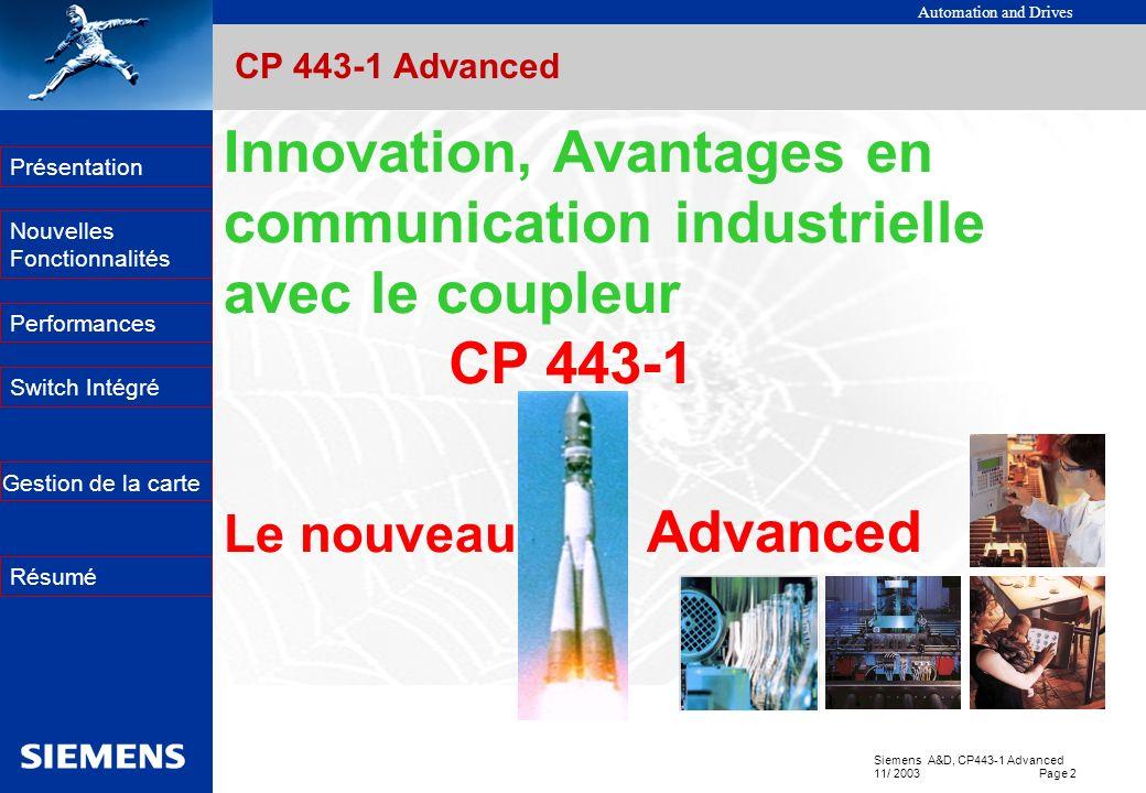 Automation and Drives Siemens A&D, CP443-1 Advanced 11/ 2003 Page 2 EK Présentation Nouvelles Fonctionnalités Performances Switch Intégré Résumé Gesti