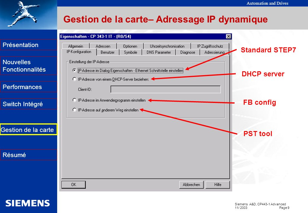 Automation and Drives Siemens A&D, CP443-1 Advanced 11/ 2003 Page 9 EK Présentation Nouvelles Fonctionnalités Performances Switch Intégré Résumé Gesti