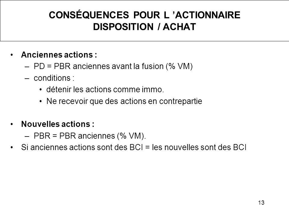 13 CONSÉQUENCES POUR L ACTIONNAIRE DISPOSITION / ACHAT Anciennes actions : –PD = PBR anciennes avant la fusion (% VM) –conditions : détenir les action