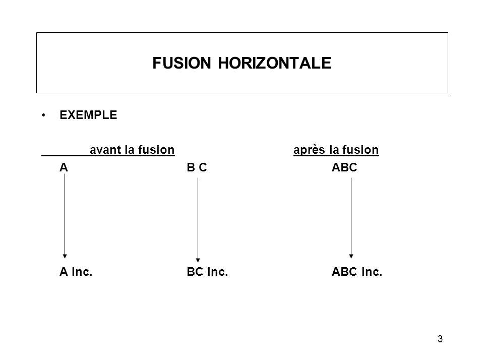 4 FUSION SIMPLIFIÉE Fusion : –entre mère et filiale à 100 % (verticale); ou –entre filiales possédées à 100 %(horizontale).