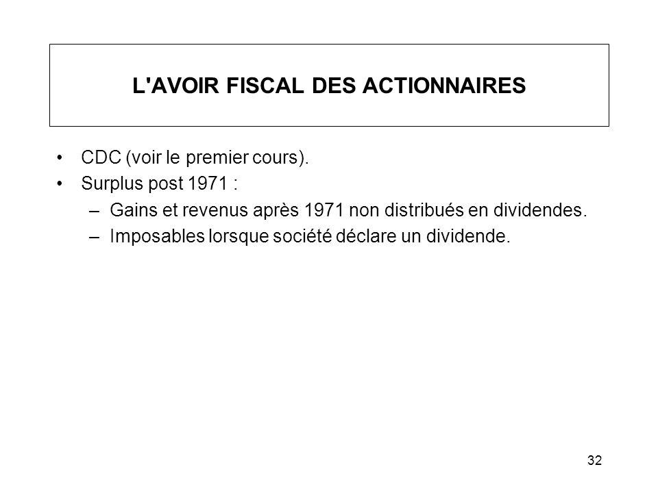 32 L'AVOIR FISCAL DES ACTIONNAIRES CDC (voir le premier cours). Surplus post 1971 : –Gains et revenus après 1971 non distribués en dividendes. –Imposa