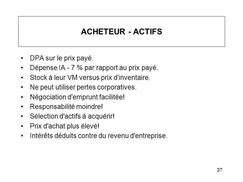 37 ACHETEUR - ACTIFS DPA sur le prix payé. Dépense IA - 7 % par rapport au prix payé. Stock à leur VM versus prix d'inventaire. Ne peut utiliser perte