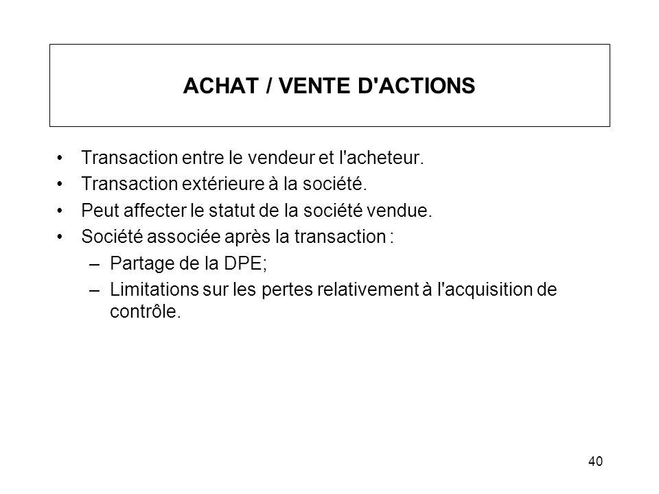 40 ACHAT / VENTE D'ACTIONS Transaction entre le vendeur et l'acheteur. Transaction extérieure à la société. Peut affecter le statut de la société vend