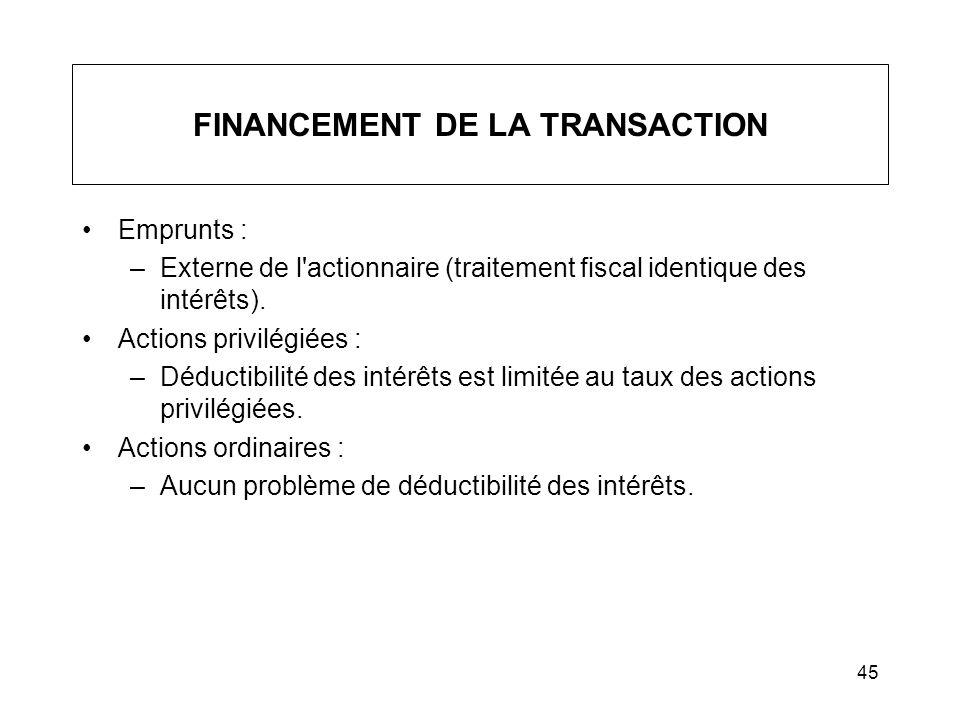 45 FINANCEMENT DE LA TRANSACTION Emprunts : –Externe de l'actionnaire (traitement fiscal identique des intérêts). Actions privilégiées : –Déductibilit