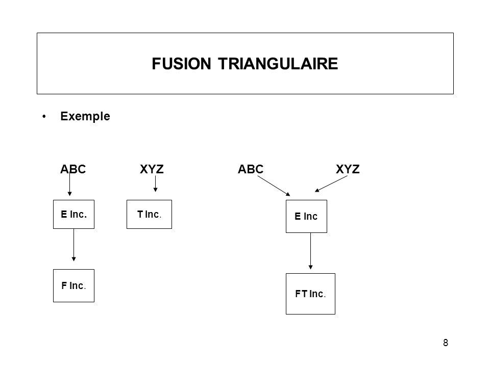 8 FUSION TRIANGULAIRE Exemple ABCXYZABCXYZ E Inc. F Inc. T Inc. E Inc FT Inc.