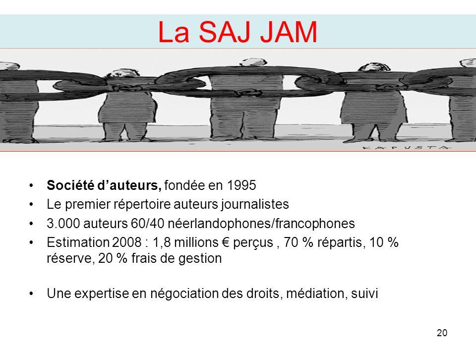 Société dauteurs, fondée en 1995 Le premier répertoire auteurs journalistes 3.000 auteurs 60/40 néerlandophones/francophones Estimation 2008 : 1,8 millions perçus, 70 % répartis, 10 % réserve, 20 % frais de gestion Une expertise en négociation des droits, médiation, suivi 20 La SAJ JAM