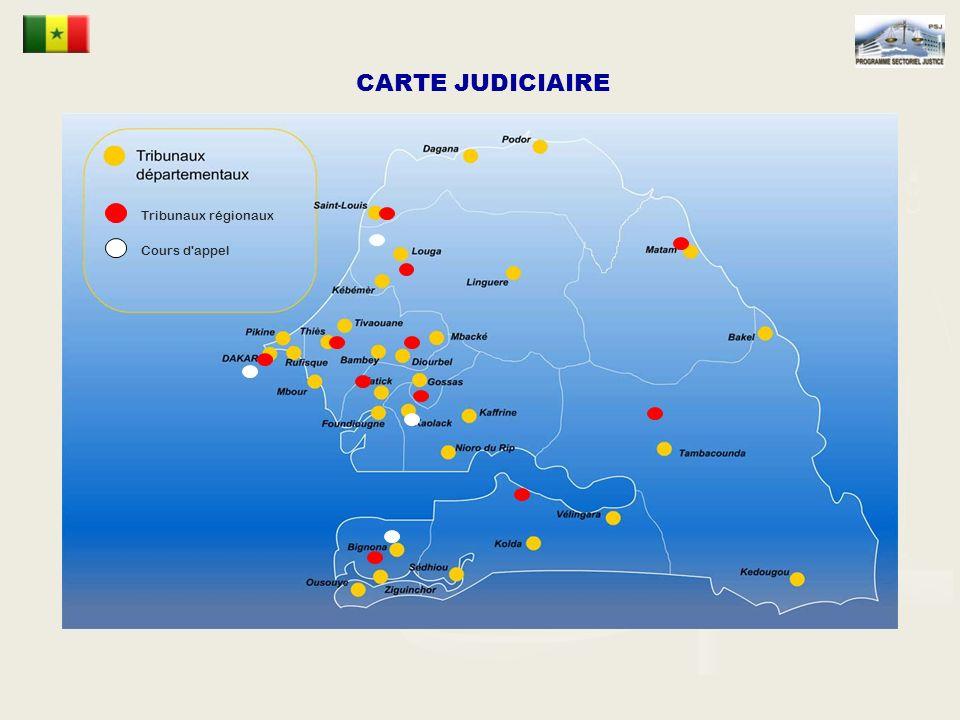 Tribunaux régionaux Cours d appel CARTE JUDICIAIRE