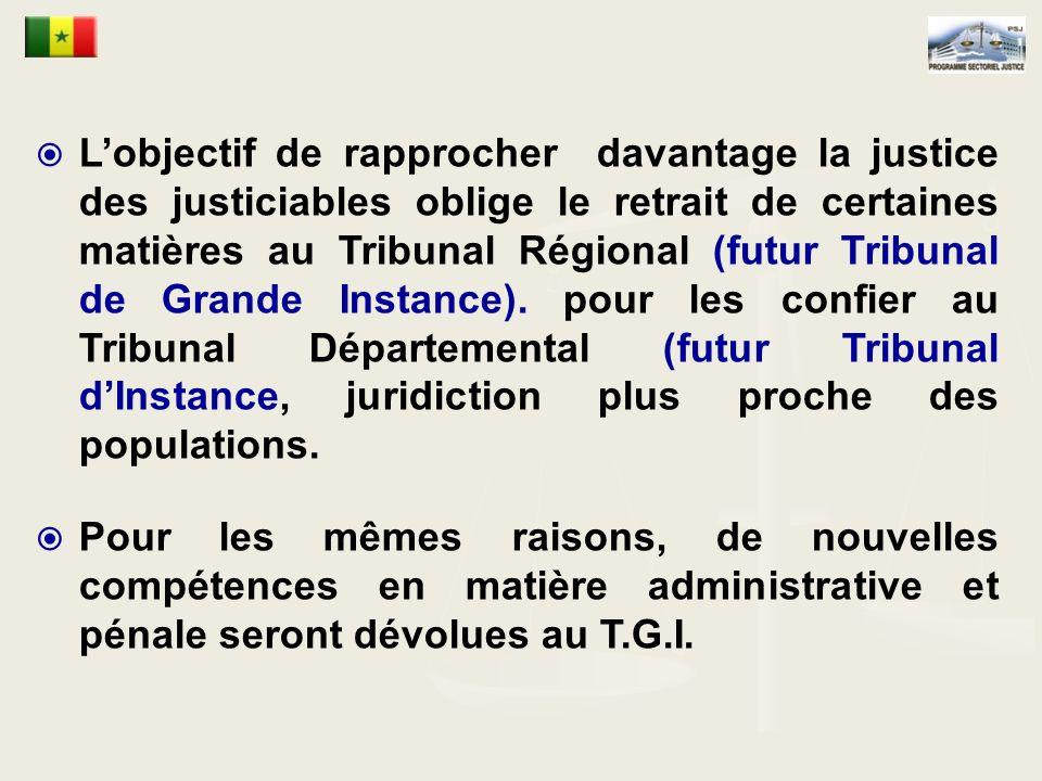 Lobjectif de rapprocher davantage la justice des justiciables oblige le retrait de certaines matières au Tribunal Régional (futur Tribunal de Grande Instance).