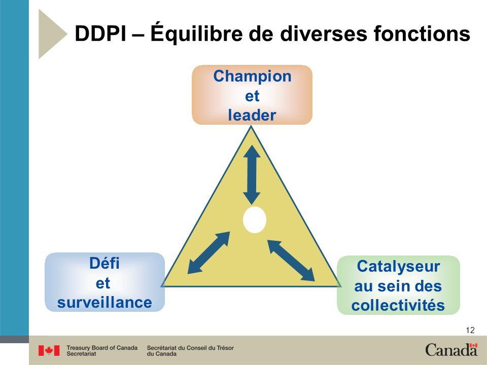 12 DDPI – Équilibre de diverses fonctions Champion et leader Défi et surveillance Catalyseur au sein des collectivités