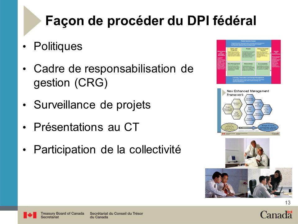 13 Façon de procéder du DPI fédéral Politiques Cadre de responsabilisation de gestion (CRG) Surveillance de projets Présentations au CT Participation