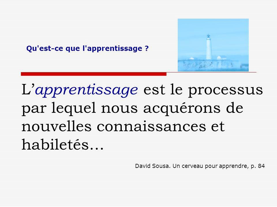L apprentissage est le processus par lequel nous acquérons de nouvelles connaissances et habiletés… David Sousa. Un cerveau pour apprendre, p. 84 Qu'e