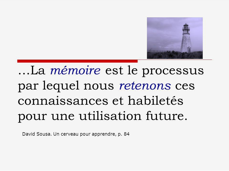 …La mémoire est le processus par lequel nous retenons ces connaissances et habiletés pour une utilisation future. David Sousa. Un cerveau pour apprend