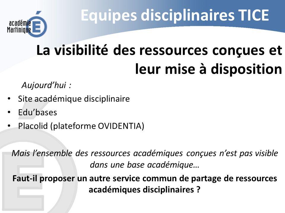 Equipes disciplinaires TICE La visibilité des ressources conçues et leur mise à disposition Aujourdhui : Site académique disciplinaire Edubases Placol