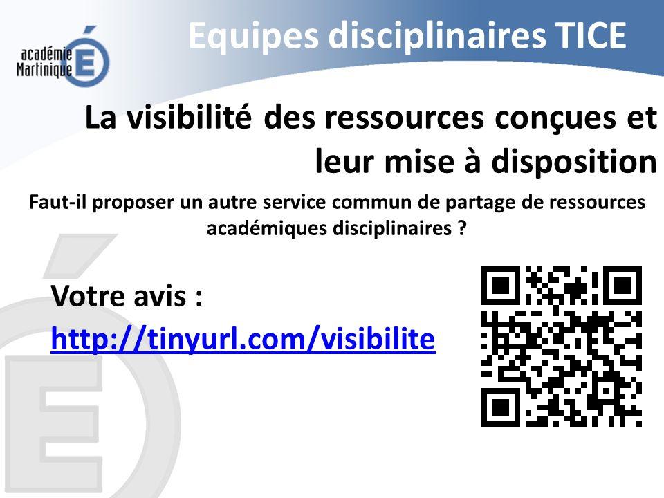 Equipes disciplinaires TICE La visibilité des ressources conçues et leur mise à disposition Faut-il proposer un autre service commun de partage de res