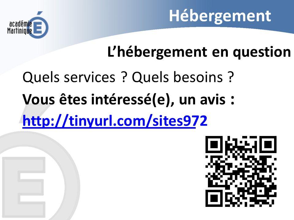 Hébergement Lhébergement en question Quels services ? Quels besoins ? Vous êtes intéressé(e), un avis : http://tinyurl.com/sites972