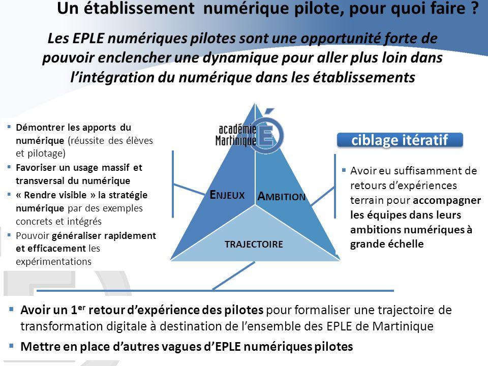 Un établissement numérique pilote, pour quoi faire ? Les EPLE numériques pilotes sont une opportunité forte de pouvoir enclencher une dynamique pour a