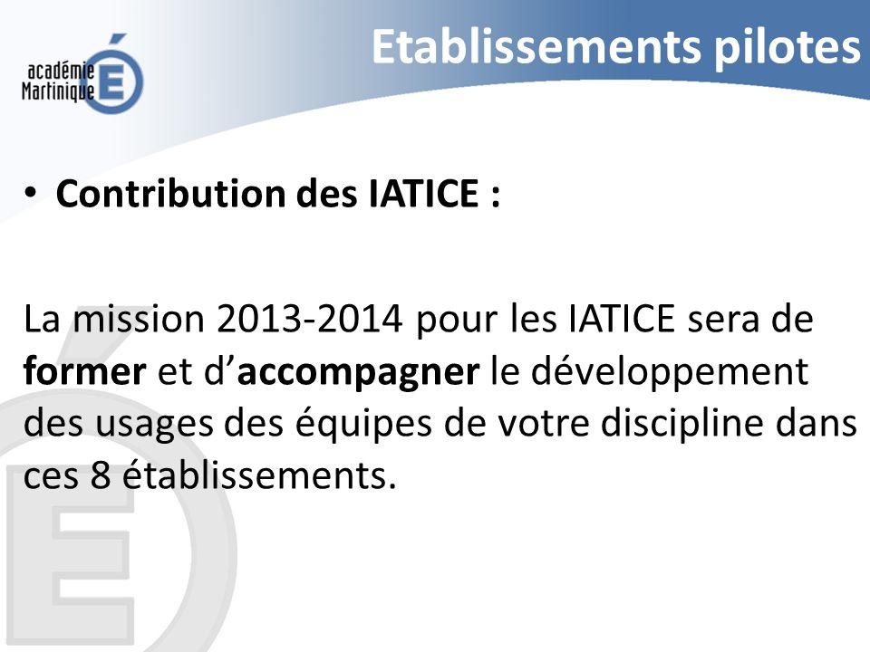 Etablissements pilotes Contribution des IATICE : La mission 2013-2014 pour les IATICE sera de former et daccompagner le développement des usages des é