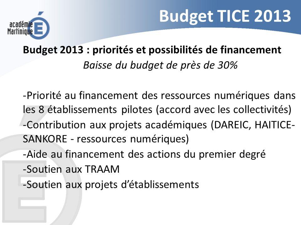 Budget TICE 2013 Budget 2013 : priorités et possibilités de financement Baisse du budget de près de 30% -Priorité au financement des ressources numéri