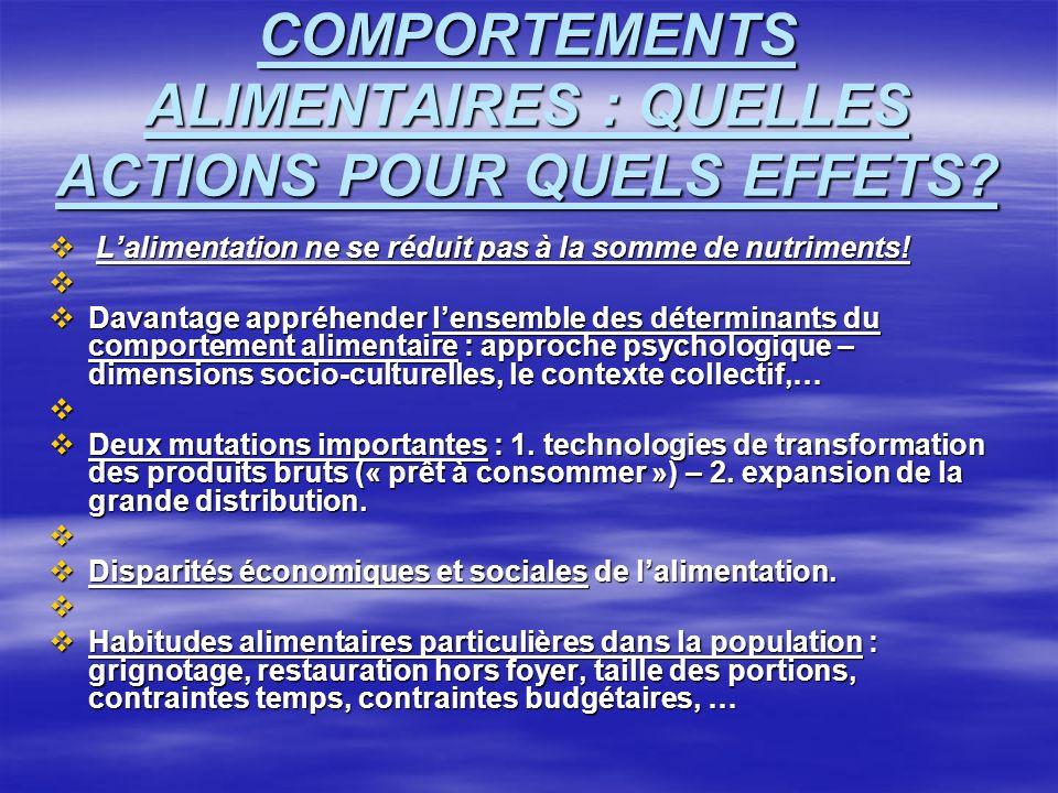 COMPORTEMENTS ALIMENTAIRES : QUELLES ACTIONS POUR QUELS EFFETS.