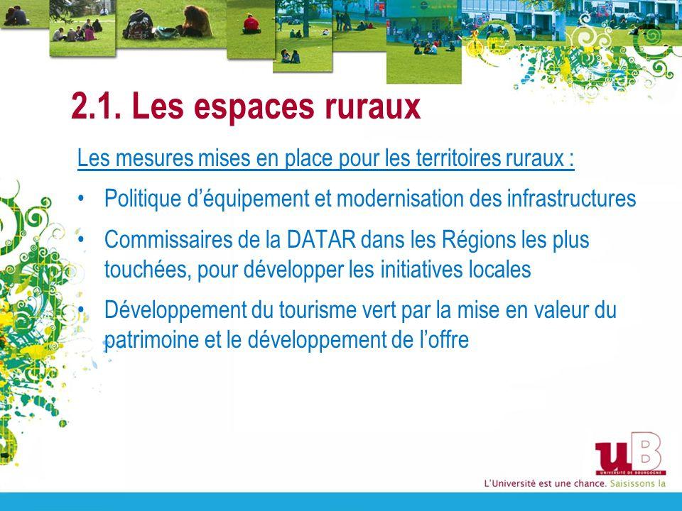 2.1. Les espaces ruraux Les mesures mises en place pour les territoires ruraux : Politique déquipement et modernisation des infrastructures Commissair