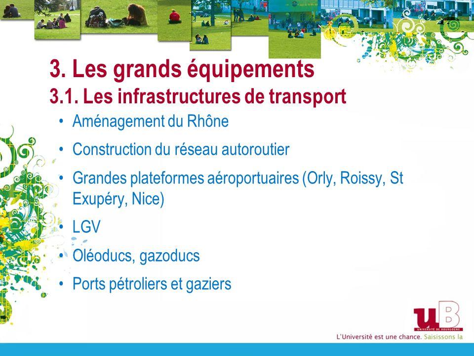 3. Les grands équipements 3.1. Les infrastructures de transport Aménagement du Rhône Construction du réseau autoroutier Grandes plateformes aéroportua