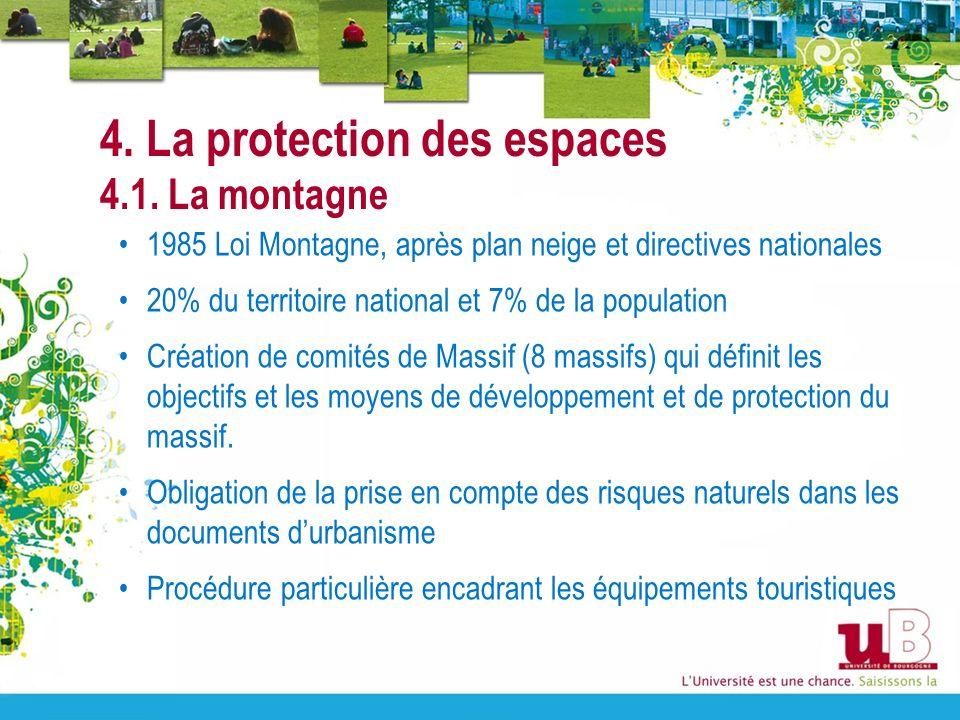 4. La protection des espaces 4.1. La montagne 1985 Loi Montagne, après plan neige et directives nationales 20% du territoire national et 7% de la popu