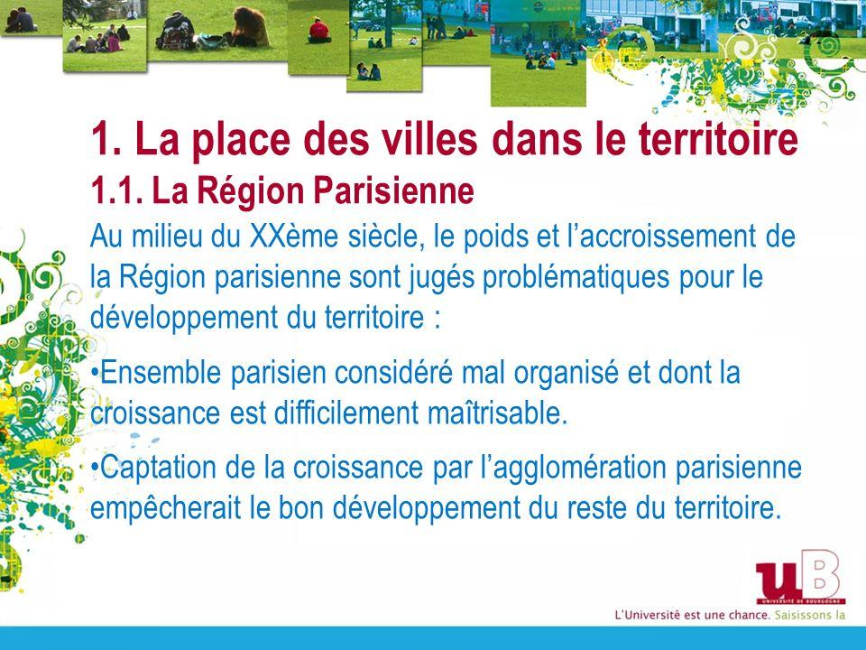 1. La place des villes dans le territoire 1.1. La Région Parisienne Au milieu du XXème siècle, le poids et laccroissement de la Région parisienne sont