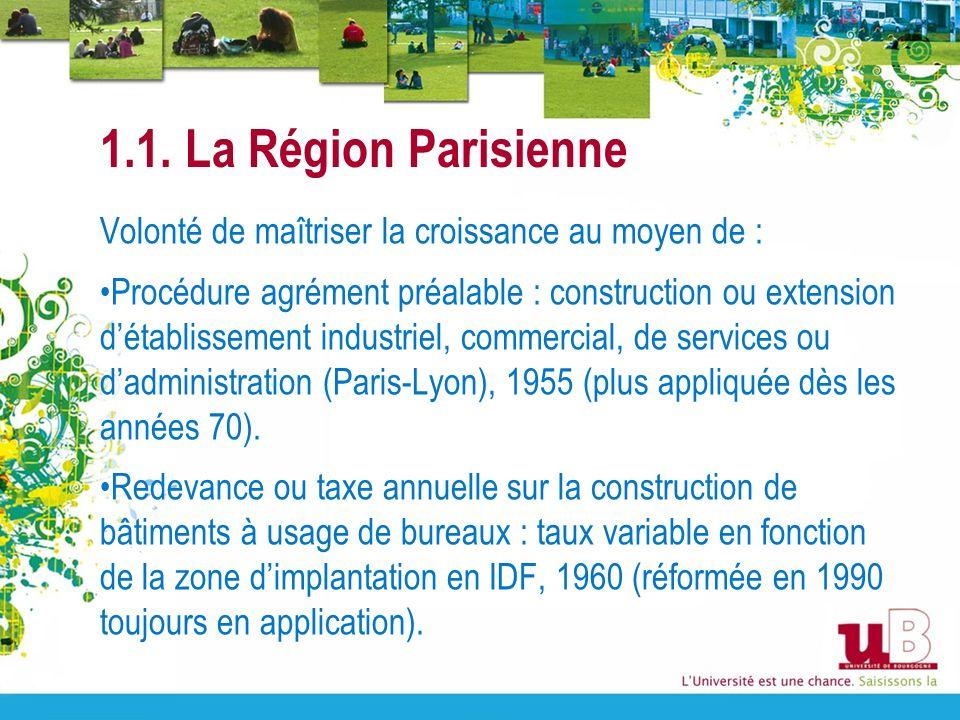 1.1. La Région Parisienne Volonté de maîtriser la croissance au moyen de : Procédure agrément préalable : construction ou extension détablissement ind