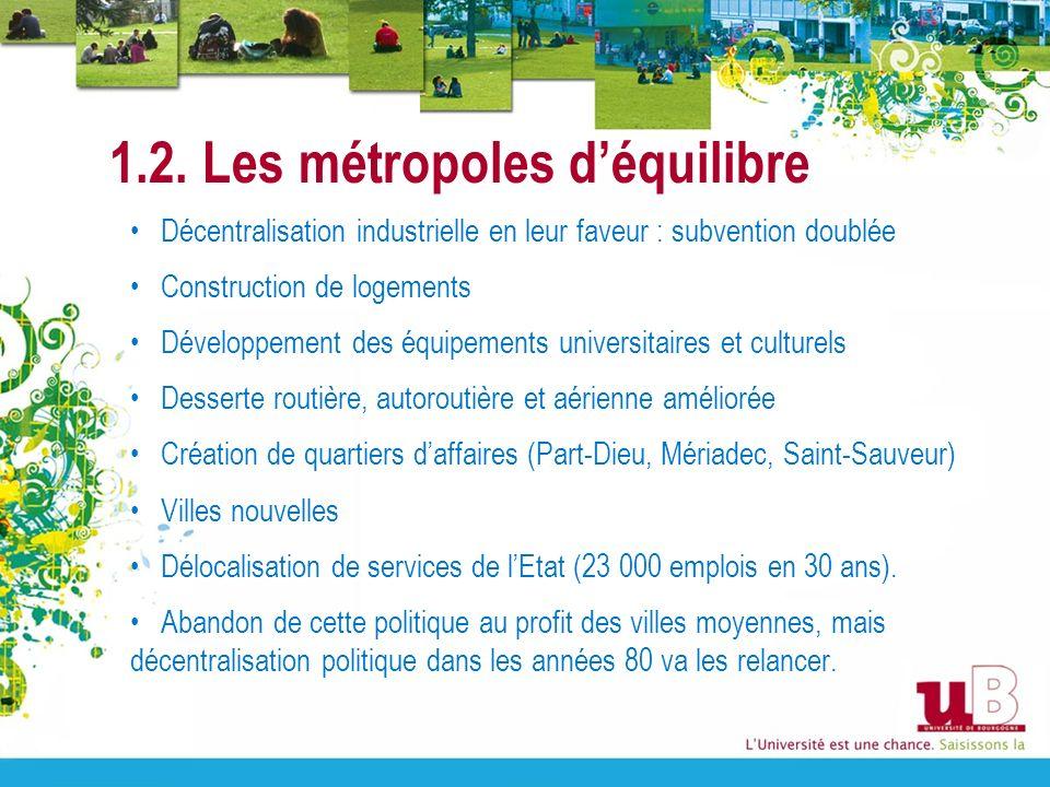 1.2. Les métropoles déquilibre Décentralisation industrielle en leur faveur : subvention doublée Construction de logements Développement des équipemen