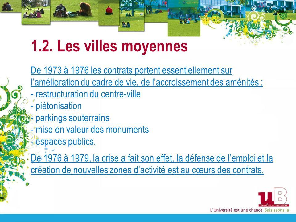 1.2. Les villes moyennes De 1973 à 1976 les contrats portent essentiellement sur lamélioration du cadre de vie, de laccroissement des aménités : - res