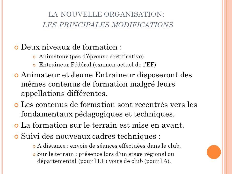 LA NOUVELLE ORGANISATION : LES PRINCIPALES MODIFICATIONS Deux niveaux de formation : Animateur (pas dépreuve certificative) Entraineur Fédéral (examen