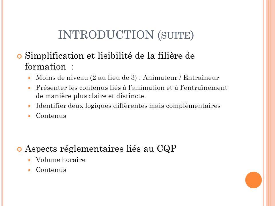 INTRODUCTION ( SUITE ) Simplification et lisibilité de la filière de formation : Moins de niveau (2 au lieu de 3) : Animateur / Entraîneur Présenter l