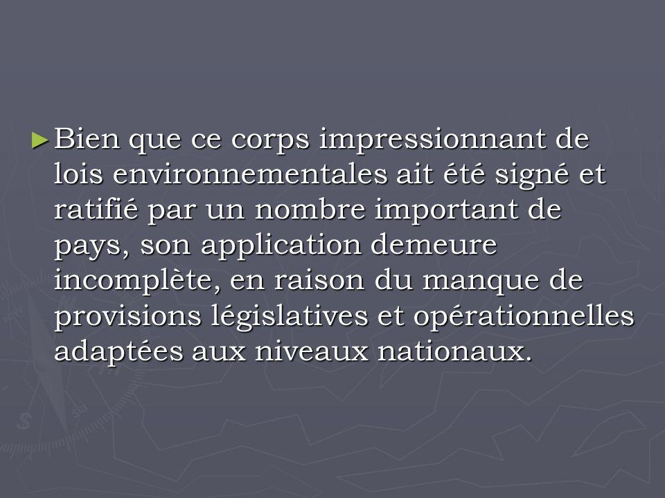 Bien que ce corps impressionnant de lois environnementales ait été signé et ratifié par un nombre important de pays, son application demeure incomplète, en raison du manque de provisions législatives et opérationnelles adaptées aux niveaux nationaux.