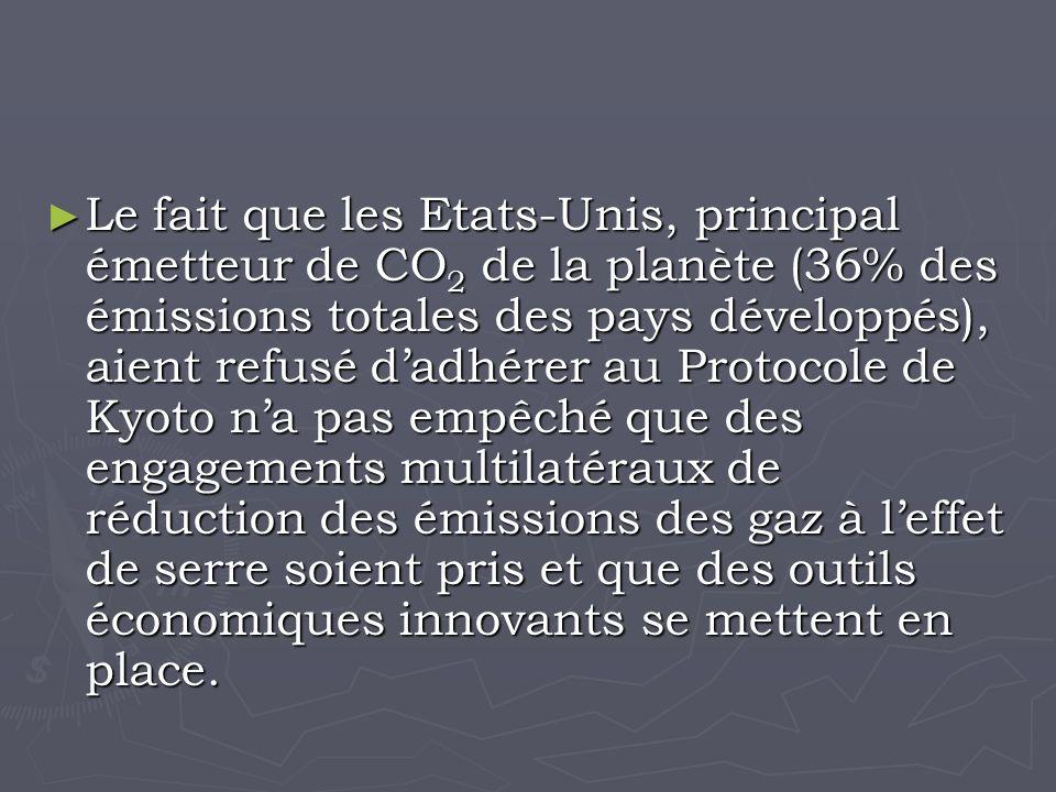 Le fait que les Etats-Unis, principal émetteur de CO 2 de la planète (36% des émissions totales des pays développés), aient refusé dadhérer au Protocole de Kyoto na pas empêché que des engagements multilatéraux de réduction des émissions des gaz à leffet de serre soient pris et que des outils économiques innovants se mettent en place.