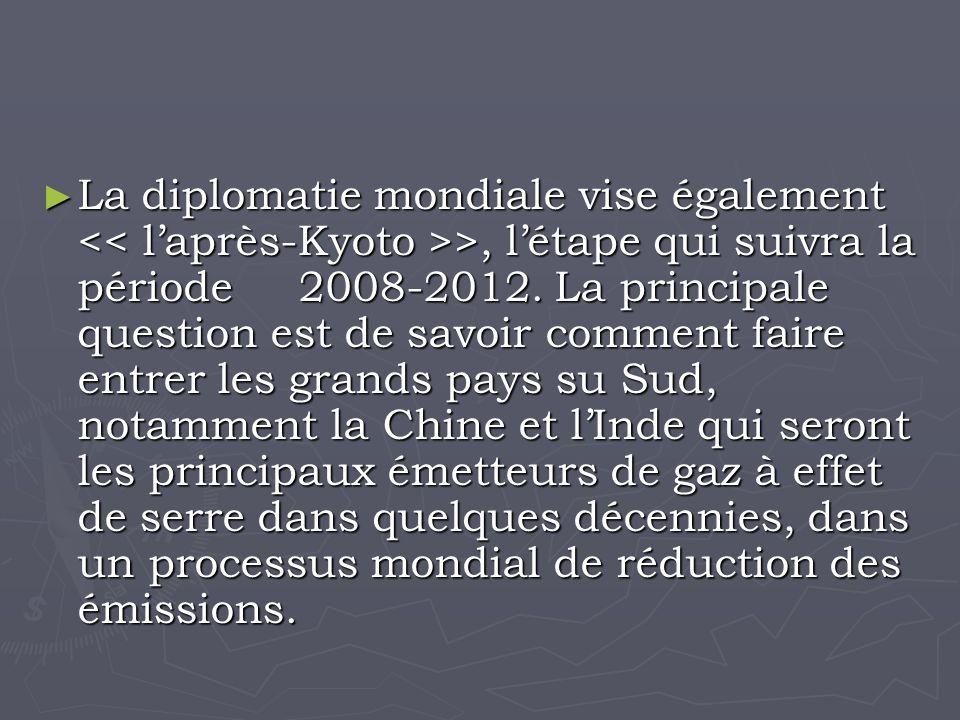 La diplomatie mondiale vise également >, létape qui suivra la période 2008-2012.