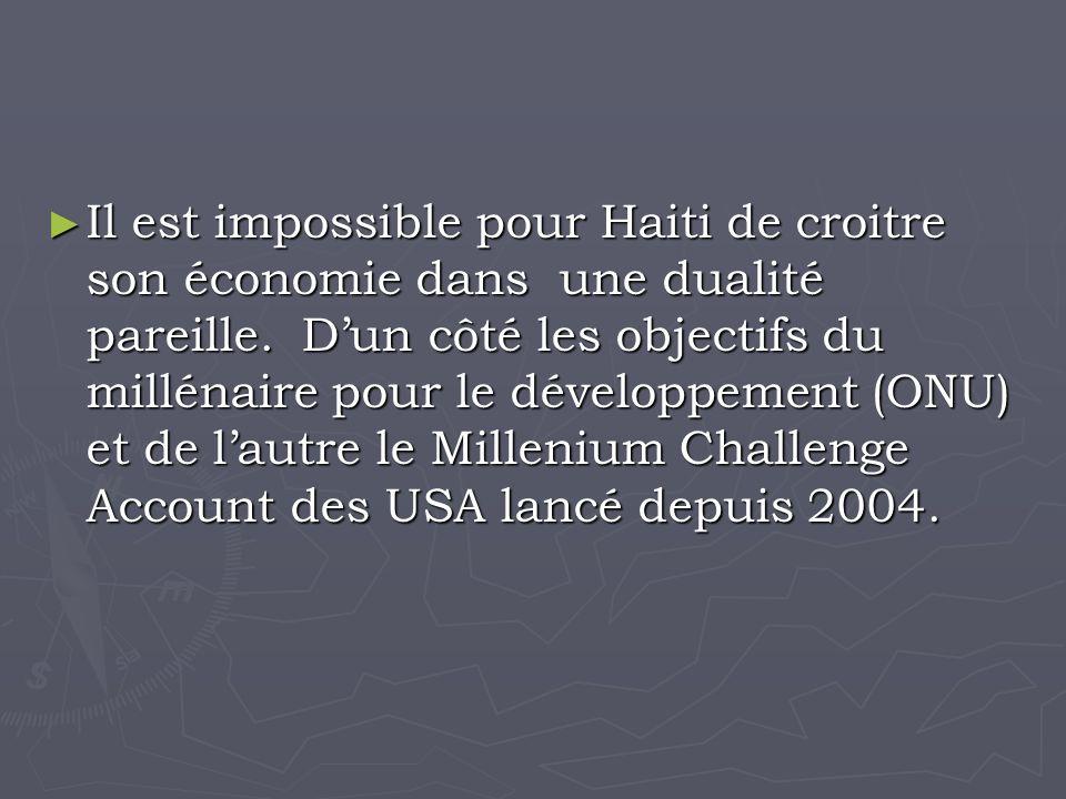 Il est impossible pour Haiti de croitre son économie dans une dualité pareille.